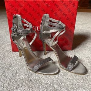 Guess Silver Satin Sparkle Heels Size 6.5